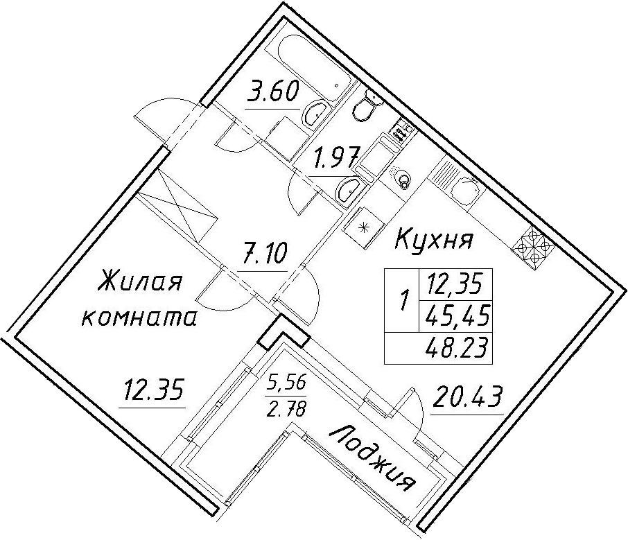 2-к.кв (евро), 51.01 м²