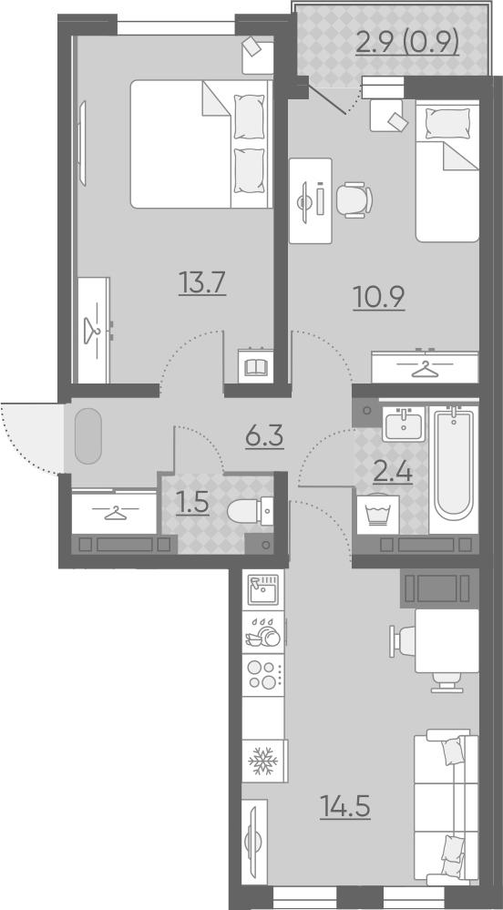 3Е-к.кв, 50.2 м², 23 этаж