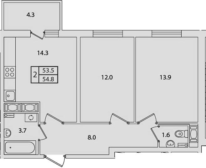 2-к.кв, 54.8 м²