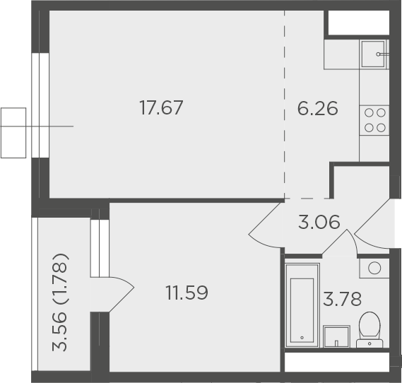 2Е-к.кв, 44.14 м², от 4 этажа