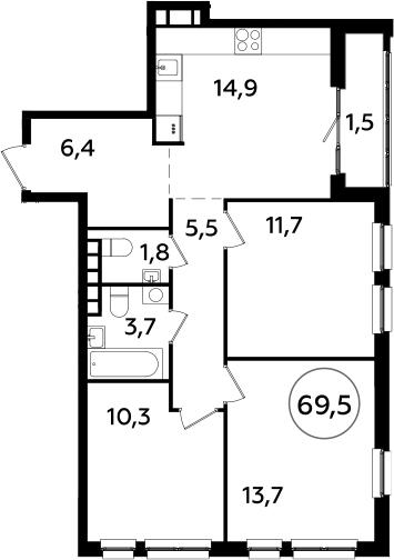 4Е-к.кв, 69.5 м², 22 этаж