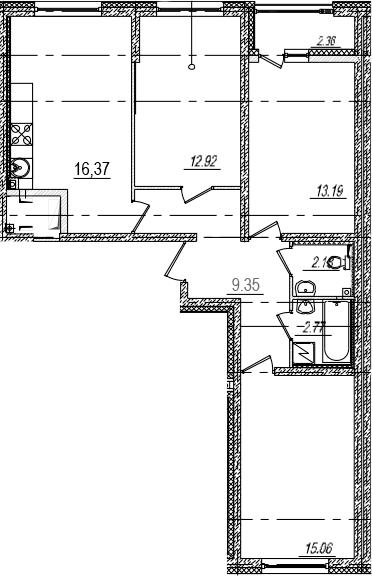 4Е-комнатная, 73.02 м²– 2
