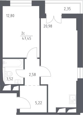 2Е-комнатная, 47.45 м²– 2