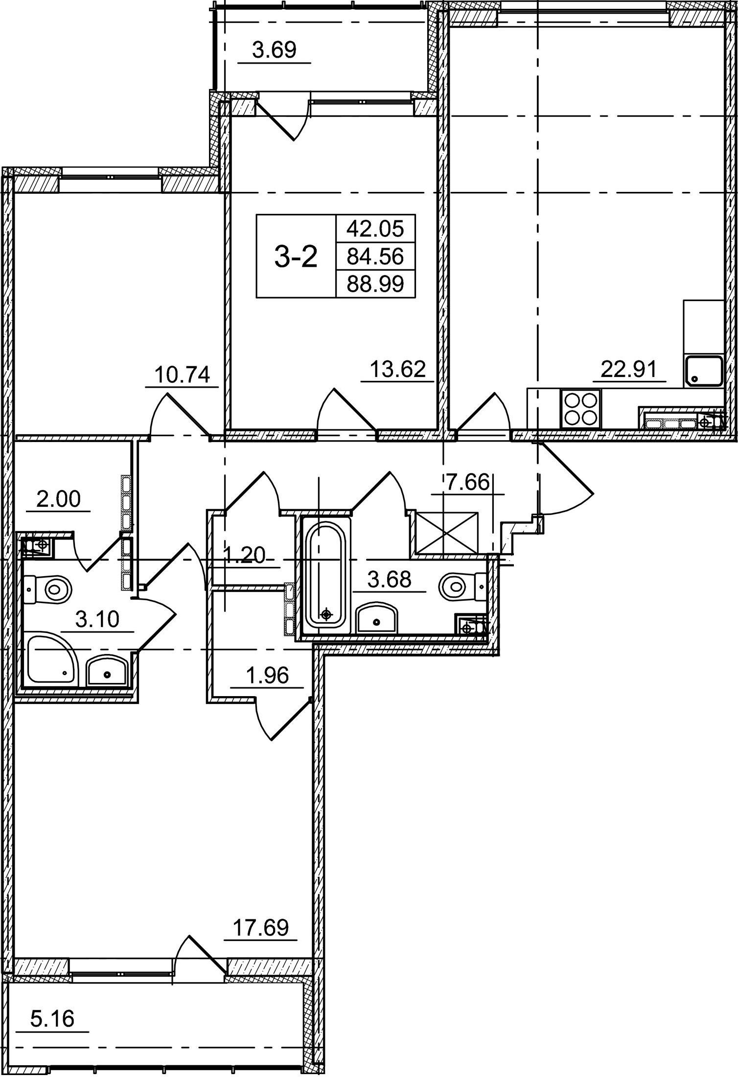 4Е-комнатная, 84.56 м²– 2