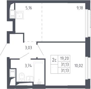 2Е-к.кв, 31.13 м², 6 этаж