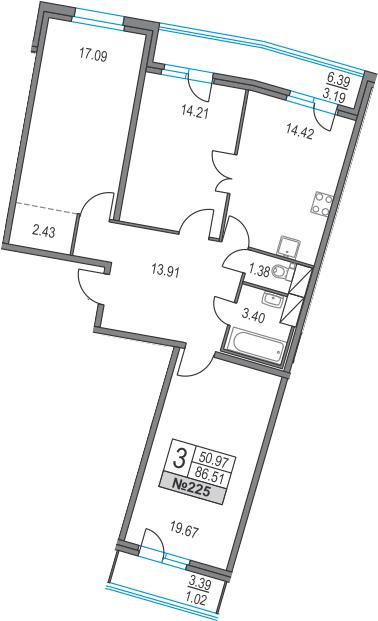3-к.кв, 96.29 м²