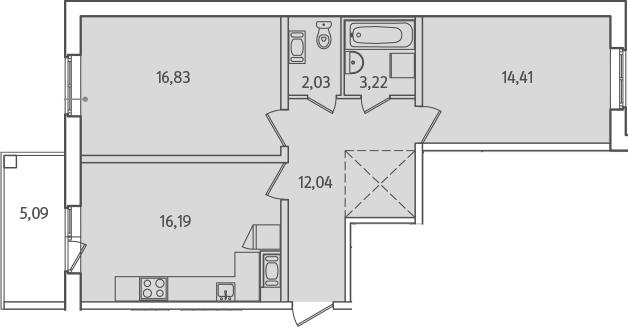 3Е-к.кв, 67.27 м², от 2 этажа
