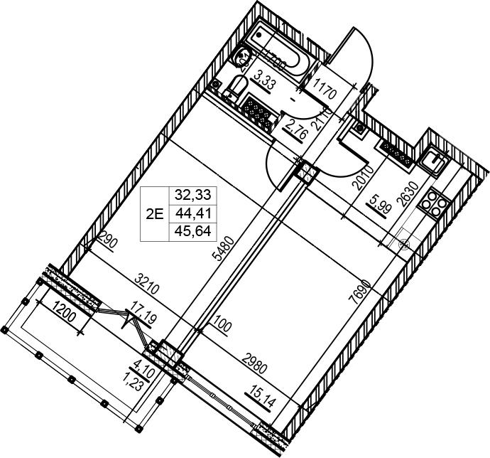 2Е-комнатная, 45.64 м²– 2
