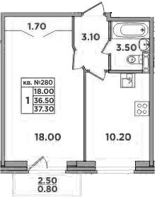 1-к.кв, 39 м²