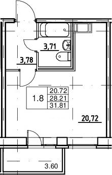 Студия, 28.21 м², от 3 этажа