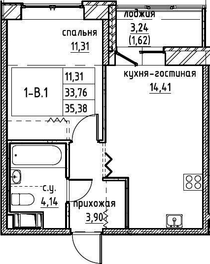 2-к.кв (евро), 37 м²