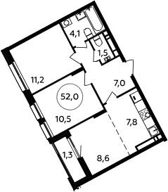 3Е-к.кв, 52 м², 14 этаж
