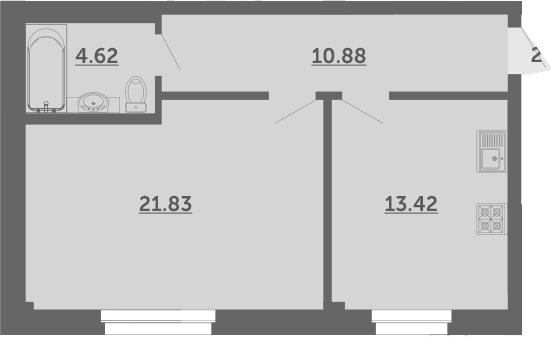1-к.кв, 50.8 м², 1 этаж