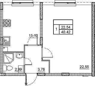 1-к.кв, 40.42 м²