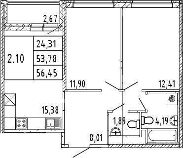 3Е-комнатная, 56.45 м²– 2