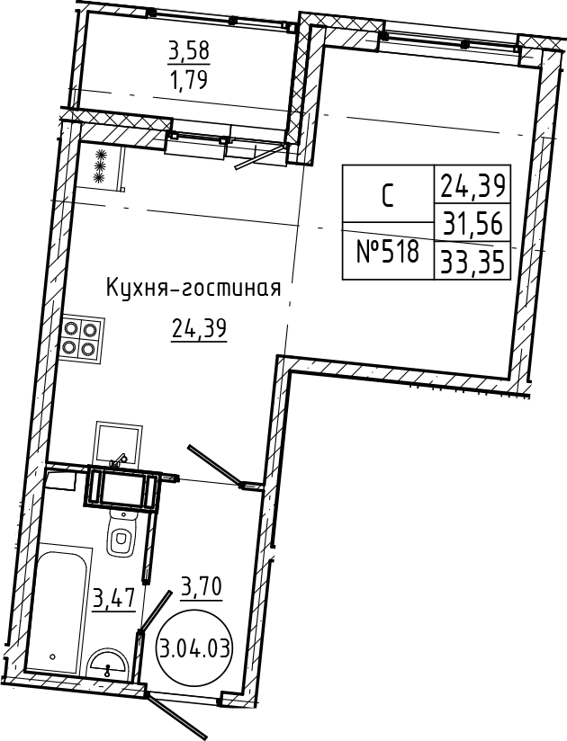 Студия, 33.35 м²– 2