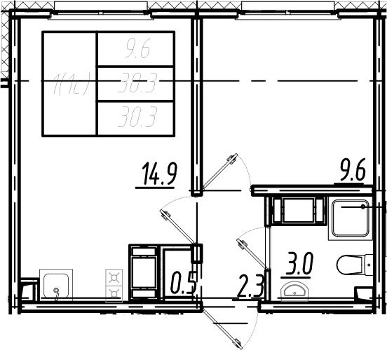 2Е-комнатная, 30.3 м²– 2