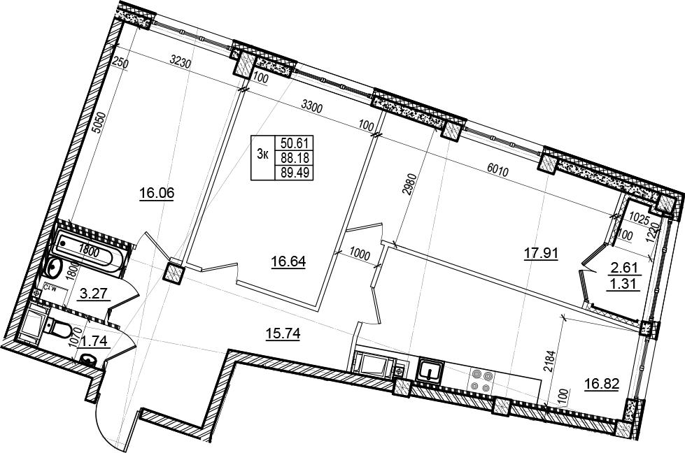3-комнатная, 89.49 м²– 2