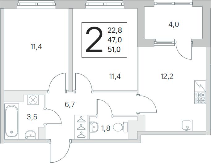 3Е-к.кв, 47 м², 2 этаж