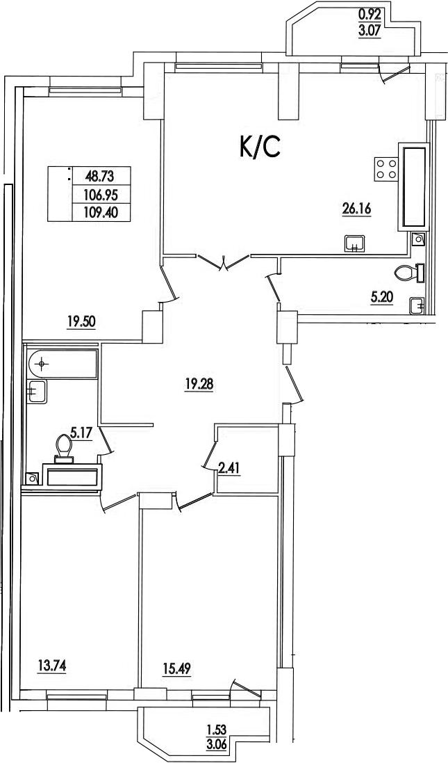 3-к.кв, 109.4 м²