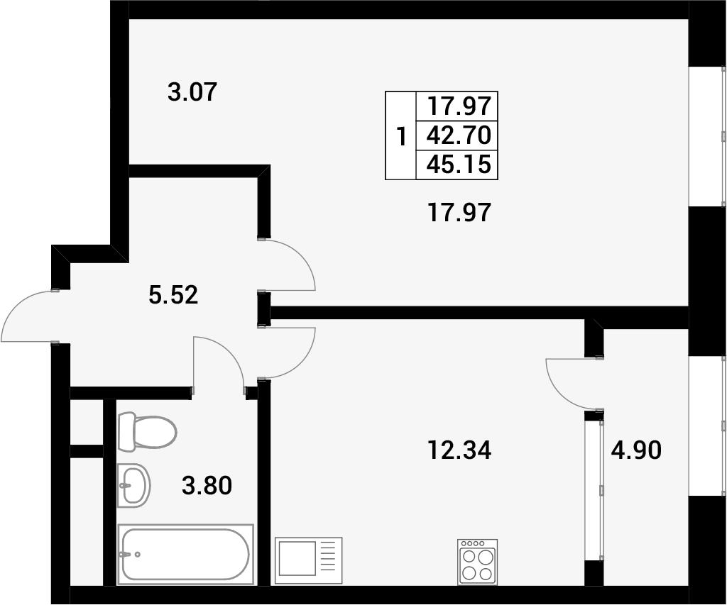 1-комнатная, 45.15 м²– 2