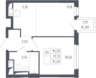 2Е-комнатная, 31.49 м²– 2