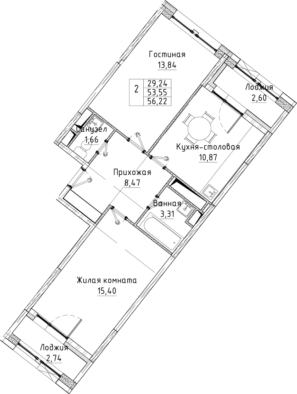 2-к.кв, 56.22 м²