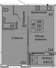 2Е-к.кв, 41.1 м², 16 этаж