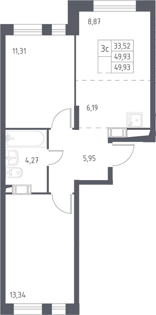 3Е-к.кв, 49.93 м², 2 этаж