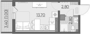Студия, 22.63 м²