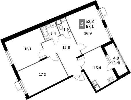 3-к.кв, 87.1 м², 2 этаж