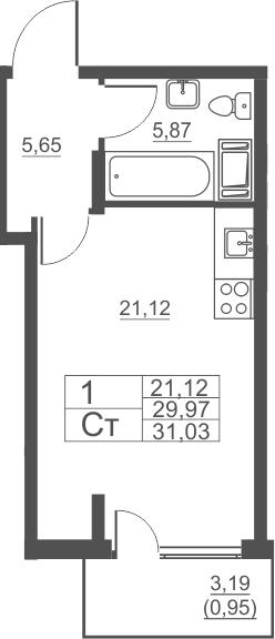 Студия, 31.03 м²– 2