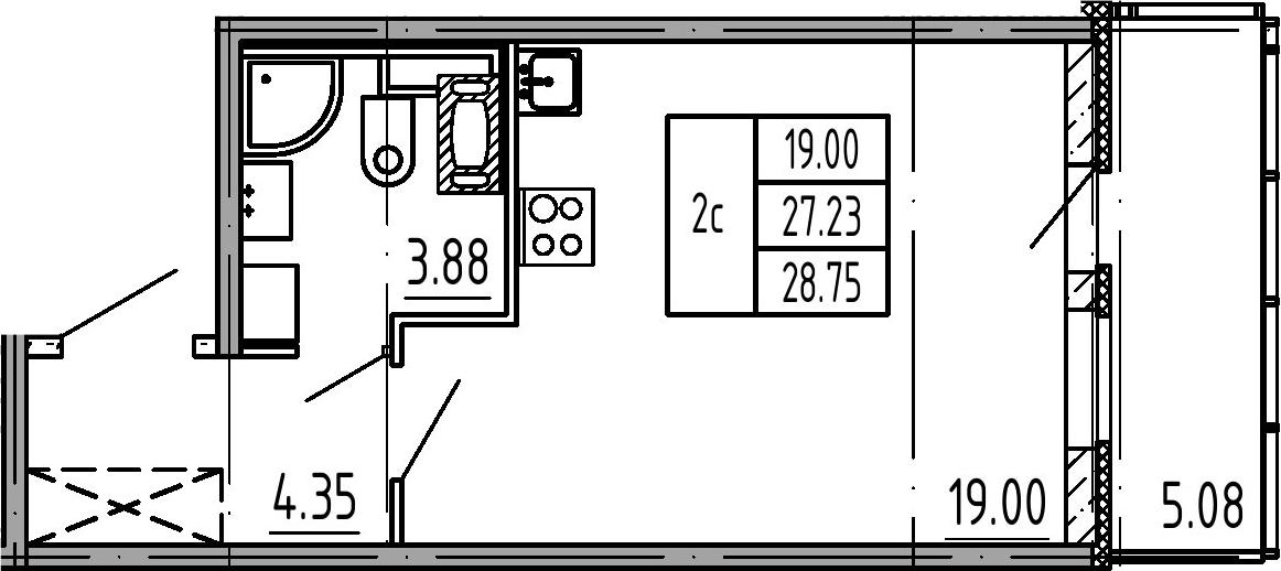 Студия, 27.23 м²– 2