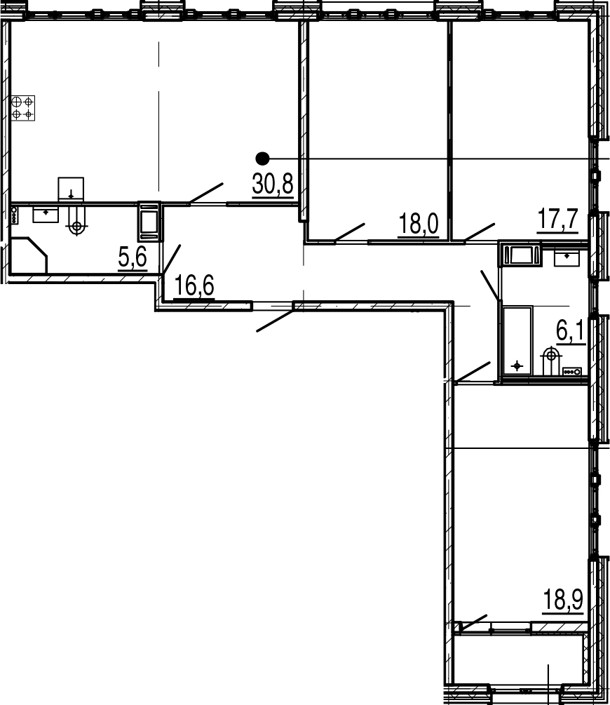 4Е-к.кв, 115.6 м², от 5 этажа