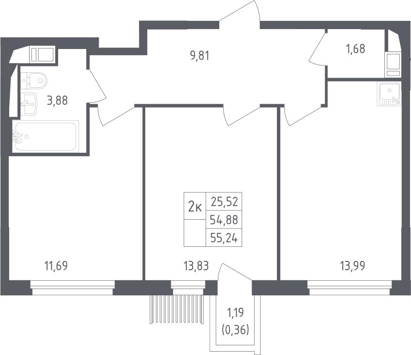 2-комнатная, 55.24 м²– 2