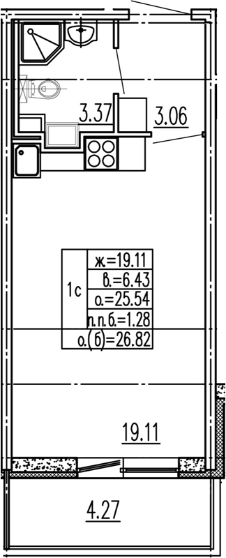 Студия, 29.81 м²
