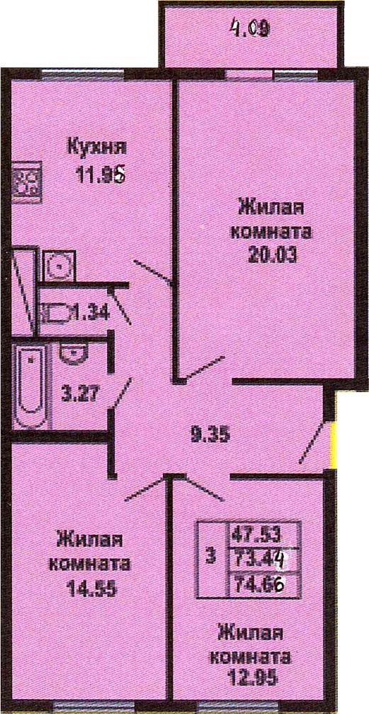 3-к.кв, 77.51 м²