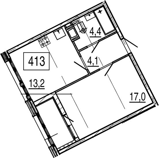 1-к.кв, 40.4 м², 6 этаж