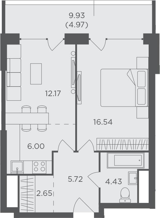 2Е-комнатная, 52.48 м²– 2
