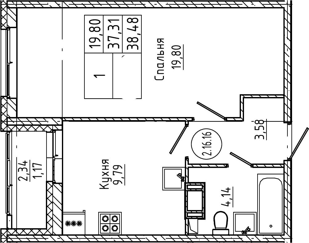 1-комнатная, 38.48 м²– 2