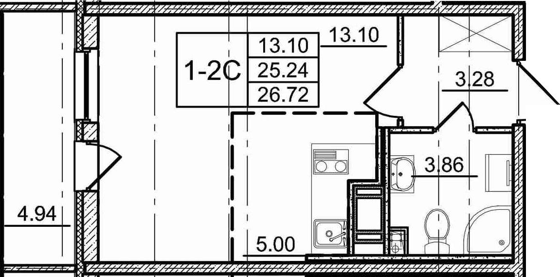 Студия, 30.18 м²
