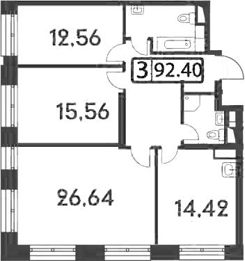 3-к.кв, 92.4 м²