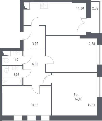 3-к.кв, 74.08 м²