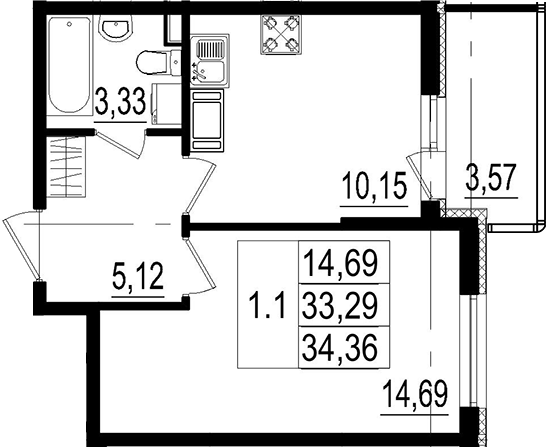 1-к.кв, 33.29 м²