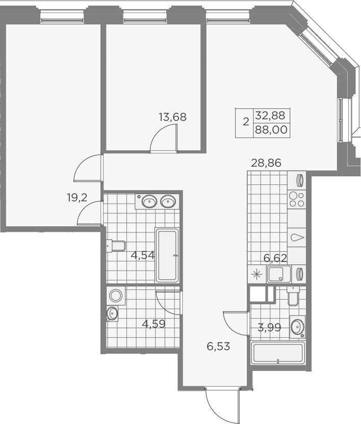 3Е-к.кв, 88.01 м², 3 этаж