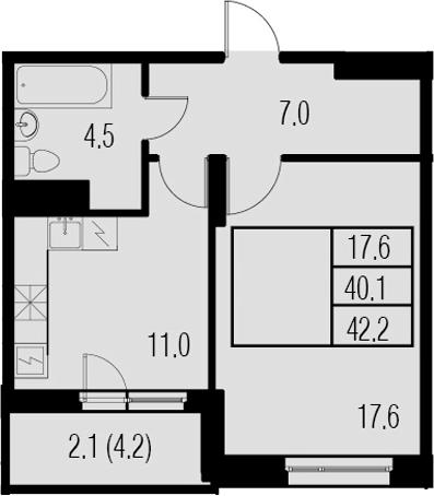 1-комнатная, 42.2 м²– 2