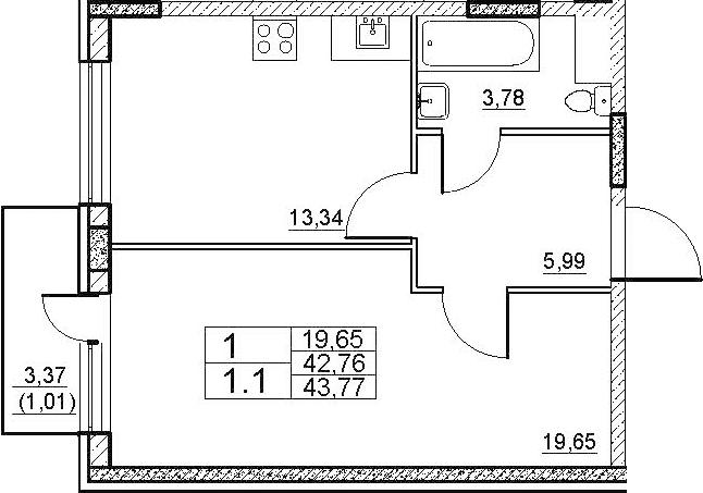1-к.кв, 46.13 м²