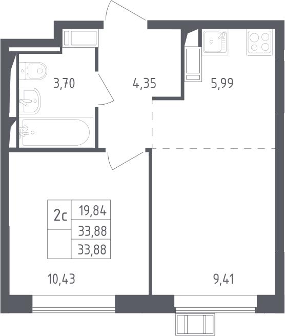 2Е-к.кв, 33.88 м², от 13 этажа