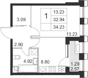 1-к.кв, 34.23 м²