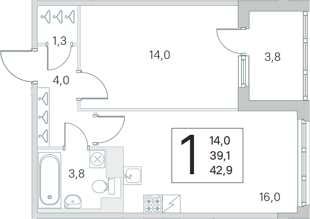 2Е-комнатная, 39.1 м²– 2